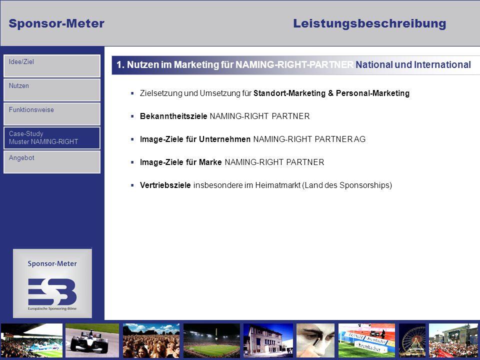 Sponsor-MeterLeistungsbeschreibung Nutzen Funktionsweise Case-Study Muster NAMING-RIGHT Idee/Ziel Angebot Zielsetzung und Umsetzung für Standort-Marke