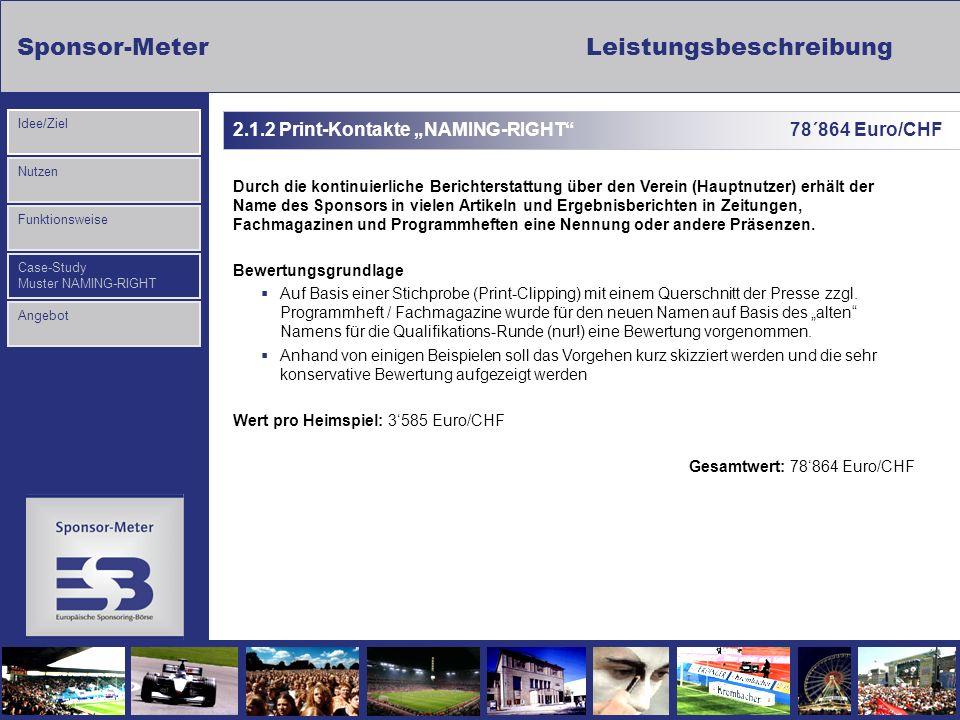 Sponsor-MeterLeistungsbeschreibung Nutzen Funktionsweise Case-Study Muster NAMING-RIGHT Idee/Ziel Angebot 2.1.2 Print-Kontakte NAMING-RIGHT 78´864 Eur