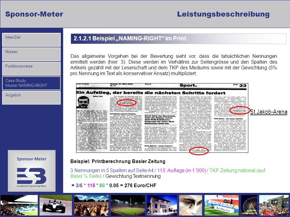 Sponsor-MeterLeistungsbeschreibung Nutzen Funktionsweise Case-Study Muster NAMING-RIGHT Idee/Ziel Angebot 2.1.2.1 Beispiel NAMING-RIGHT im Print St.Ja