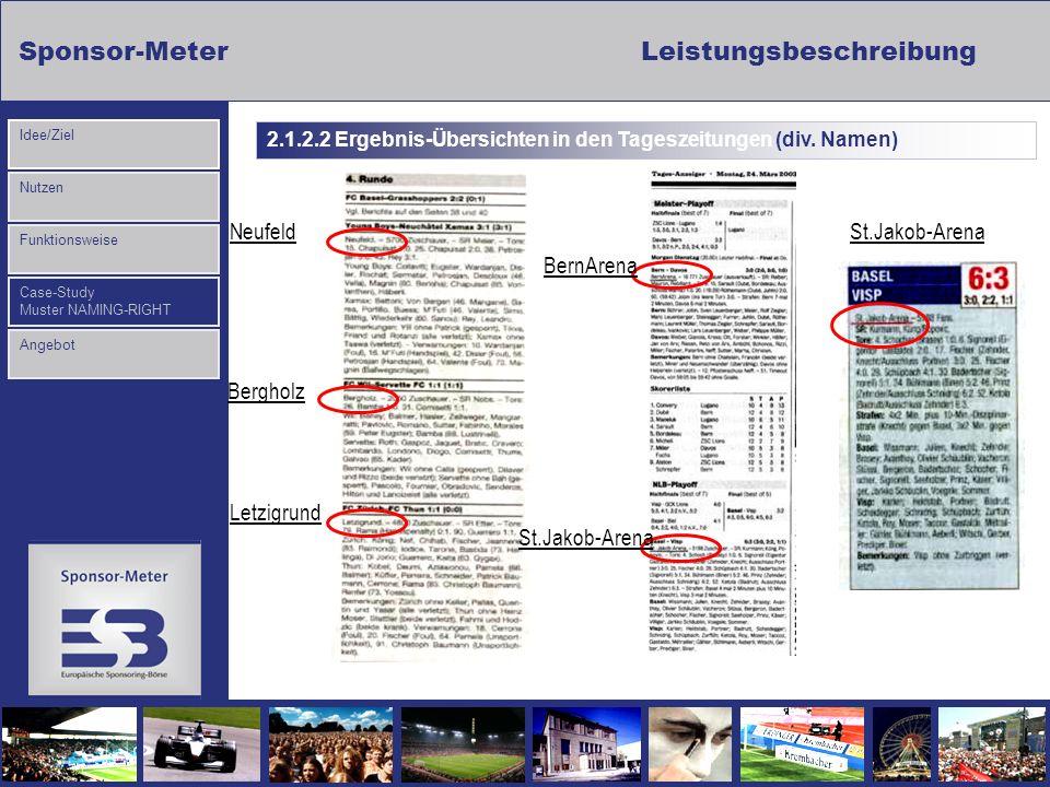 Sponsor-MeterLeistungsbeschreibung Nutzen Funktionsweise Case-Study Muster NAMING-RIGHT Idee/Ziel Angebot Neufeld Bergholz Letzigrund BernArena St.Jak