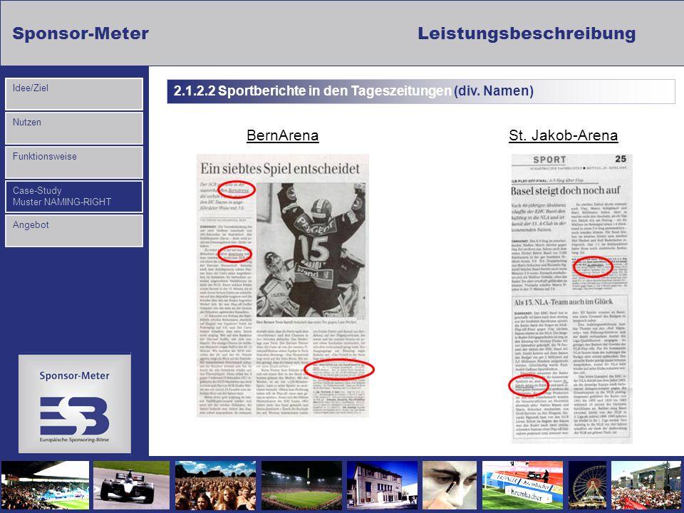 Sponsor-MeterLeistungsbeschreibung Nutzen Funktionsweise Case-Study Muster NAMING-RIGHT Idee/Ziel Angebot BernArenaSt. Jakob-Arena 2.1.2.2 Sportberich