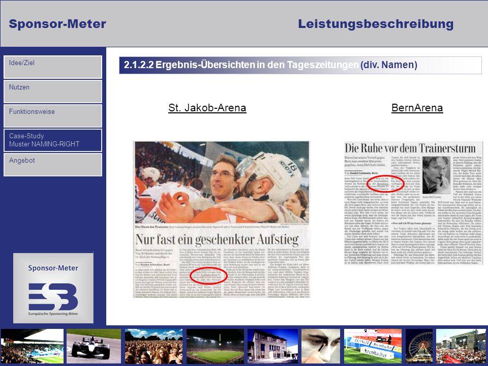 Sponsor-MeterLeistungsbeschreibung Nutzen Funktionsweise Case-Study Muster NAMING-RIGHT Idee/Ziel Angebot BernArenaSt. Jakob-Arena 2.1.2.2 Ergebnis-Üb