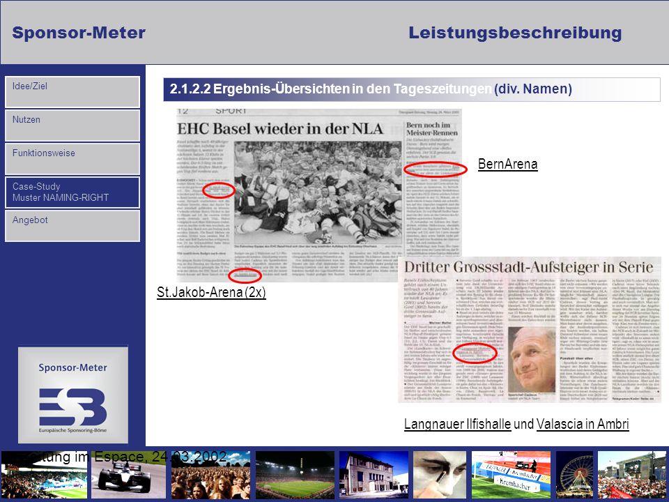 Sponsor-MeterLeistungsbeschreibung Nutzen Funktionsweise Case-Study Muster NAMING-RIGHT Idee/Ziel Angebot Zeitung im Espace, 24.03.2002 Langnauer Ilfi
