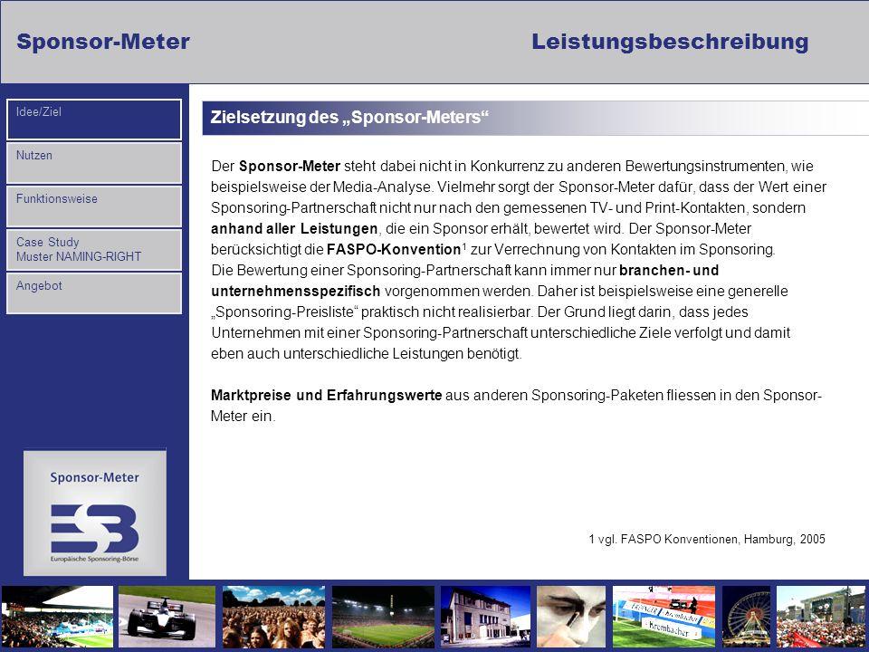 Sponsor-Meter Leistungsbeschreibung Nutzen Funktionsweise Case Study Muster NAMING-RIGHT Idee/Ziel Angebot Zielsetzung des Sponsor-Meters Der Sponsor-