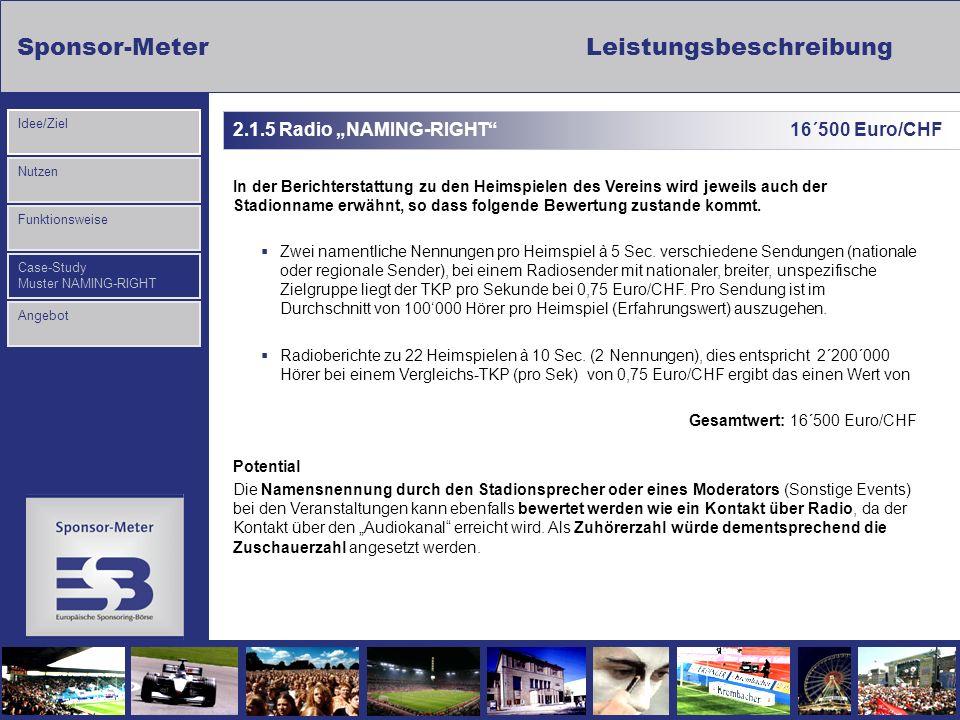 Sponsor-MeterLeistungsbeschreibung Nutzen Funktionsweise Case-Study Muster NAMING-RIGHT Idee/Ziel Angebot 2.1.5 Radio NAMING-RIGHT 16´500 Euro/CHF In