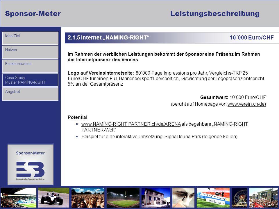 Sponsor-MeterLeistungsbeschreibung Nutzen Funktionsweise Case-Study Muster NAMING-RIGHT Idee/Ziel Angebot 2.1.5 Internet NAMING-RIGHT 10´000 Euro/CHF