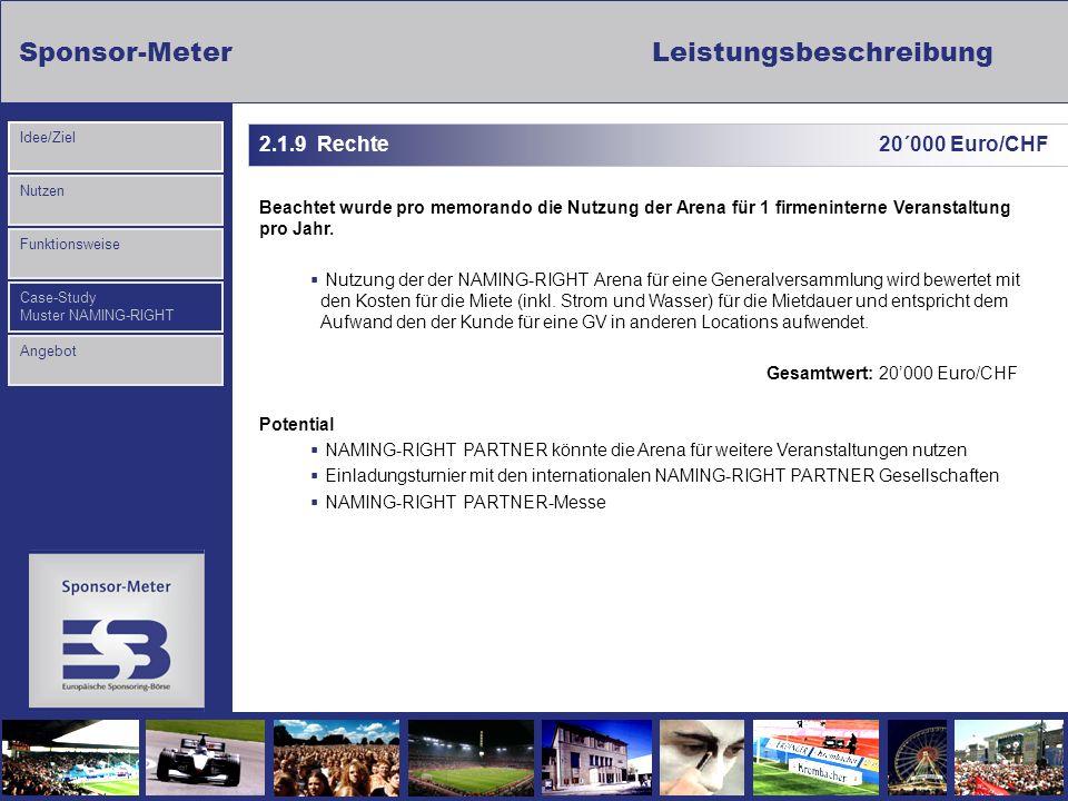 Sponsor-MeterLeistungsbeschreibung Nutzen Funktionsweise Case-Study Muster NAMING-RIGHT Idee/Ziel Angebot 2.1.9 Rechte 20´000 Euro/CHF Beachtet wurde