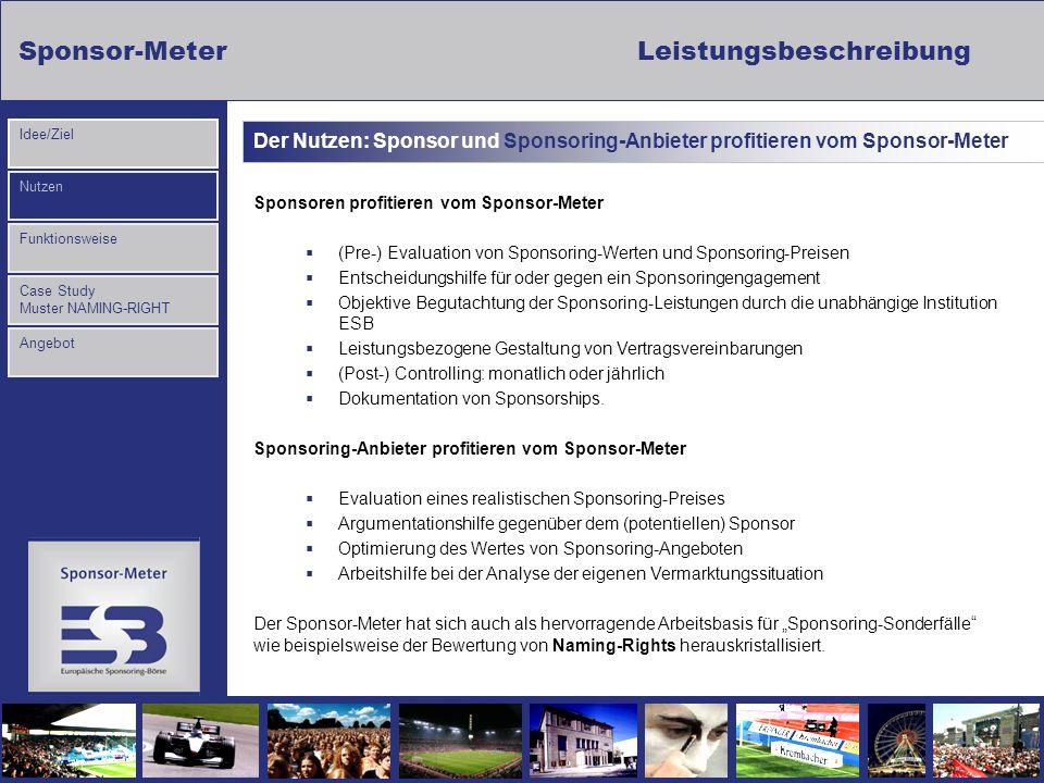 Sponsor-MeterLeistungsbeschreibung Nutzen Funktionsweise Case Study Muster NAMING-RIGHT Idee/Ziel Angebot Der Nutzen: Sponsor und Sponsoring-Anbieter