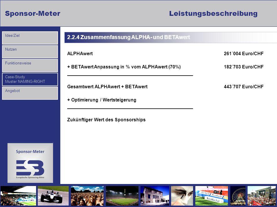 Sponsor-MeterLeistungsbeschreibung Nutzen Funktionsweise Case-Study Muster NAMING-RIGHT Idee/Ziel Angebot ALPHAwert 261´004 Euro/CHF + BETAwert Anpass