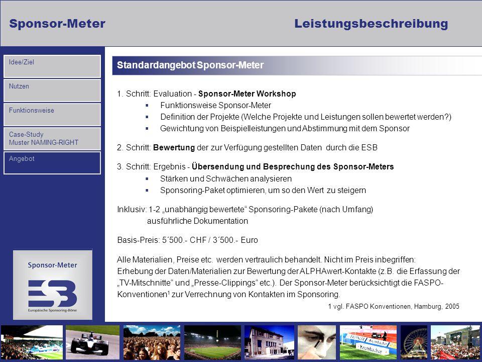Sponsor-MeterLeistungsbeschreibung Nutzen Funktionsweise Case-Study Muster NAMING-RIGHT Idee/Ziel Angebot Standardangebot Sponsor-Meter 1. Schritt: Ev