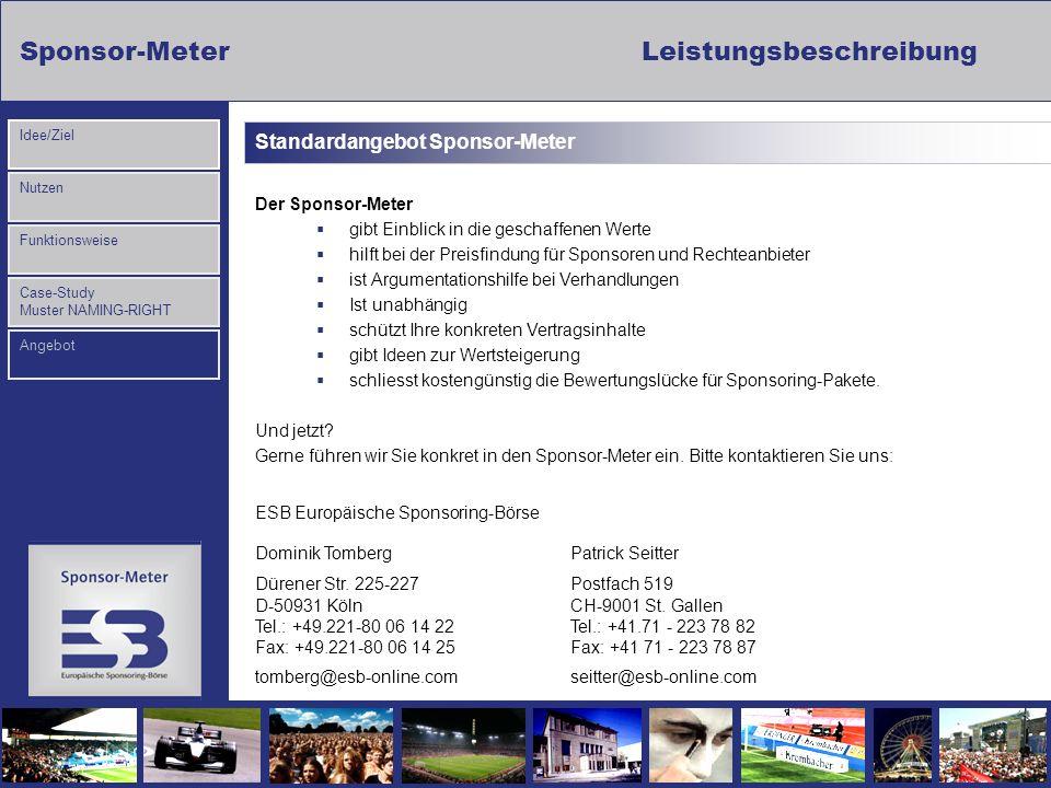 Sponsor-MeterLeistungsbeschreibung Nutzen Funktionsweise Case-Study Muster NAMING-RIGHT Idee/Ziel Angebot Standardangebot Sponsor-Meter Der Sponsor-Me