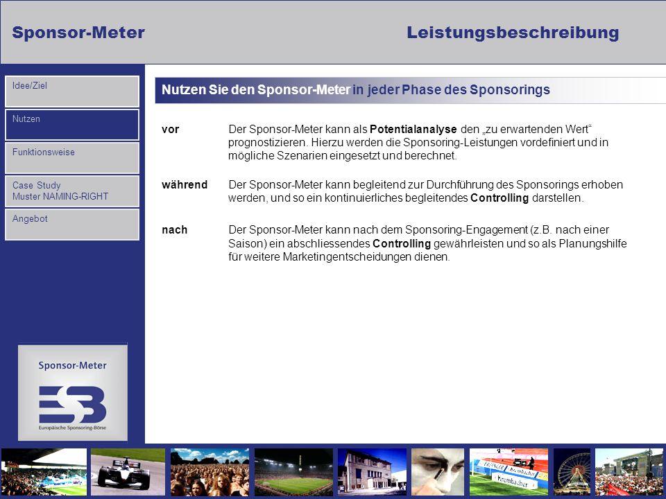 Sponsor-MeterLeistungsbeschreibung Nutzen Funktionsweise Case Study Muster NAMING-RIGHT Idee/Ziel Angebot Nutzen Sie den Sponsor-Meter in jeder Phase