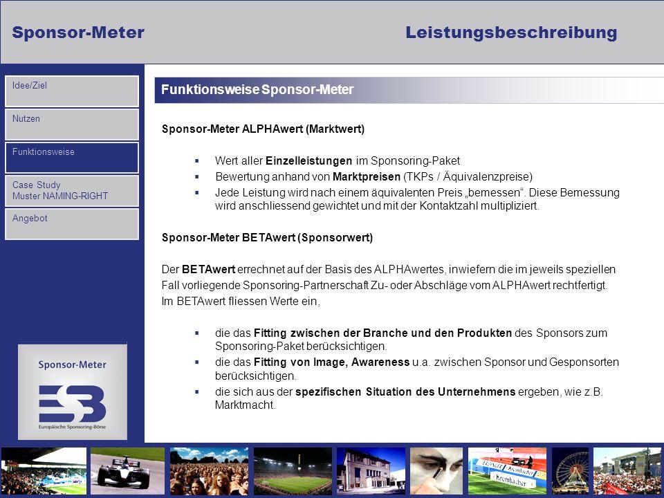 Sponsor-MeterLeistungsbeschreibung Nutzen Funktionsweise Case Study Muster NAMING-RIGHT Idee/Ziel Angebot Funktionsweise Sponsor-Meter Sponsor-Meter A