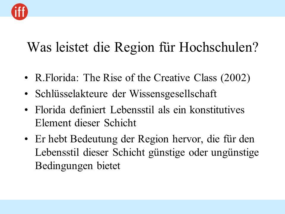 Was leistet die Region für Hochschulen? R.Florida: The Rise of the Creative Class (2002) Schlüsselakteure der Wissensgesellschaft Florida definiert Le