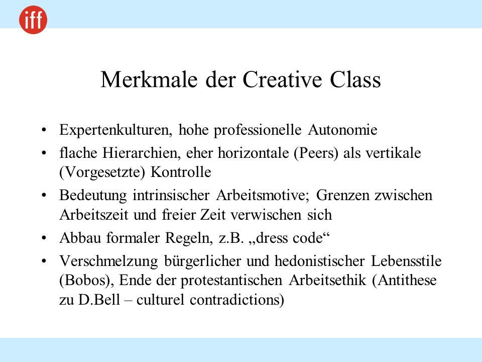 Merkmale der Creative Class Expertenkulturen, hohe professionelle Autonomie flache Hierarchien, eher horizontale (Peers) als vertikale (Vorgesetzte) K