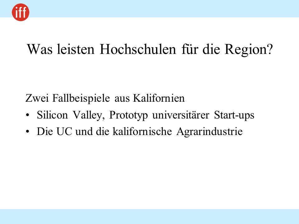 Was leisten Hochschulen für die Region? Zwei Fallbeispiele aus Kalifornien Silicon Valley, Prototyp universitärer Start-ups Die UC und die kalifornisc