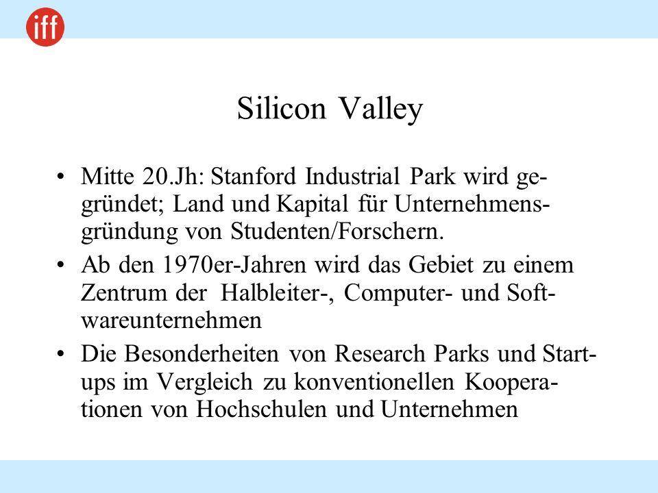 Silicon Valley Mitte 20.Jh: Stanford Industrial Park wird ge- gründet; Land und Kapital für Unternehmens- gründung von Studenten/Forschern. Ab den 197
