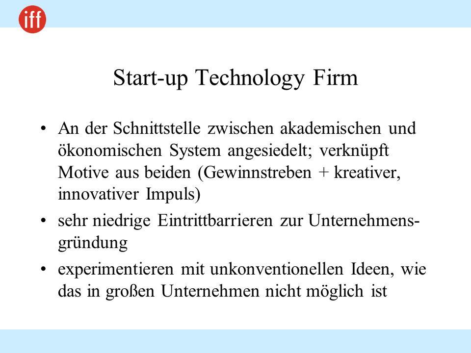 Start-up Technology Firm An der Schnittstelle zwischen akademischen und ökonomischen System angesiedelt; verknüpft Motive aus beiden (Gewinnstreben +