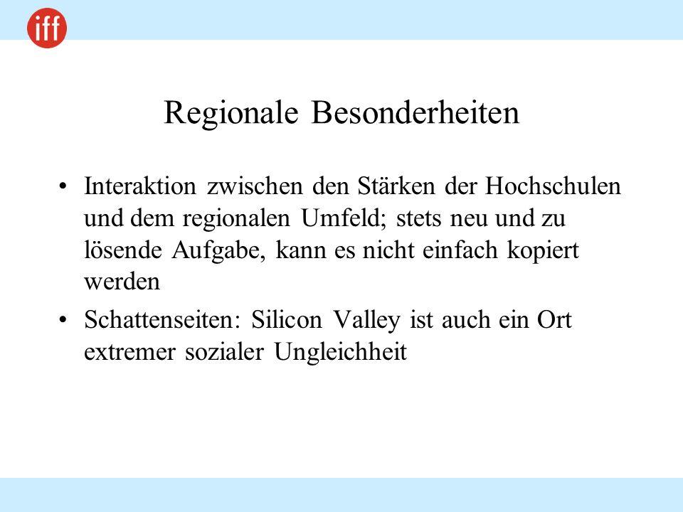 Regionale Besonderheiten Interaktion zwischen den Stärken der Hochschulen und dem regionalen Umfeld; stets neu und zu lösende Aufgabe, kann es nicht e
