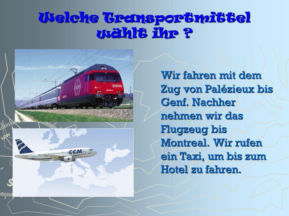 Welche Transportmittel wählt ihr ? Wir fahren mit dem Zug von Palézieux bis Genf. Nachher nehmen wir das Flugzeug bis Montreal. Wir rufen ein Taxi, um