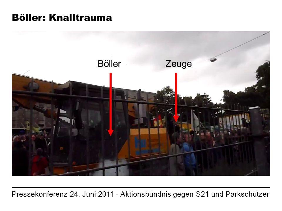 Pressekonferenz 24. Juni 2011 - Aktionsbündnis gegen S21 und Parkschützer Böller: Knalltrauma BöllerZeuge