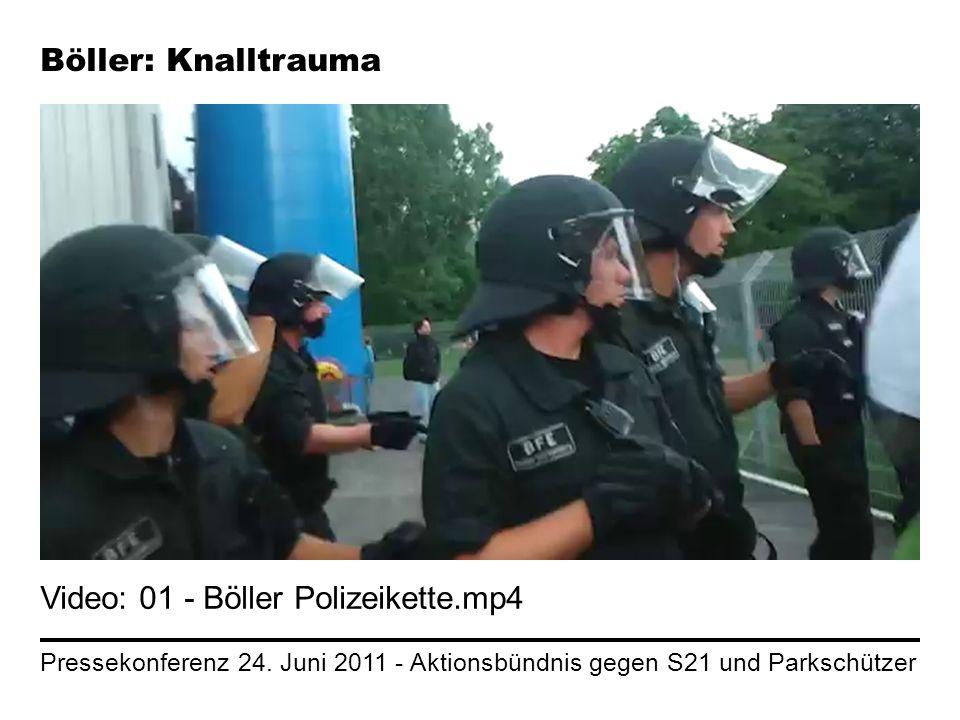 Pressekonferenz 24. Juni 2011 - Aktionsbündnis gegen S21 und Parkschützer Böller: Knalltrauma Video: 01 - Böller Polizeikette.mp4