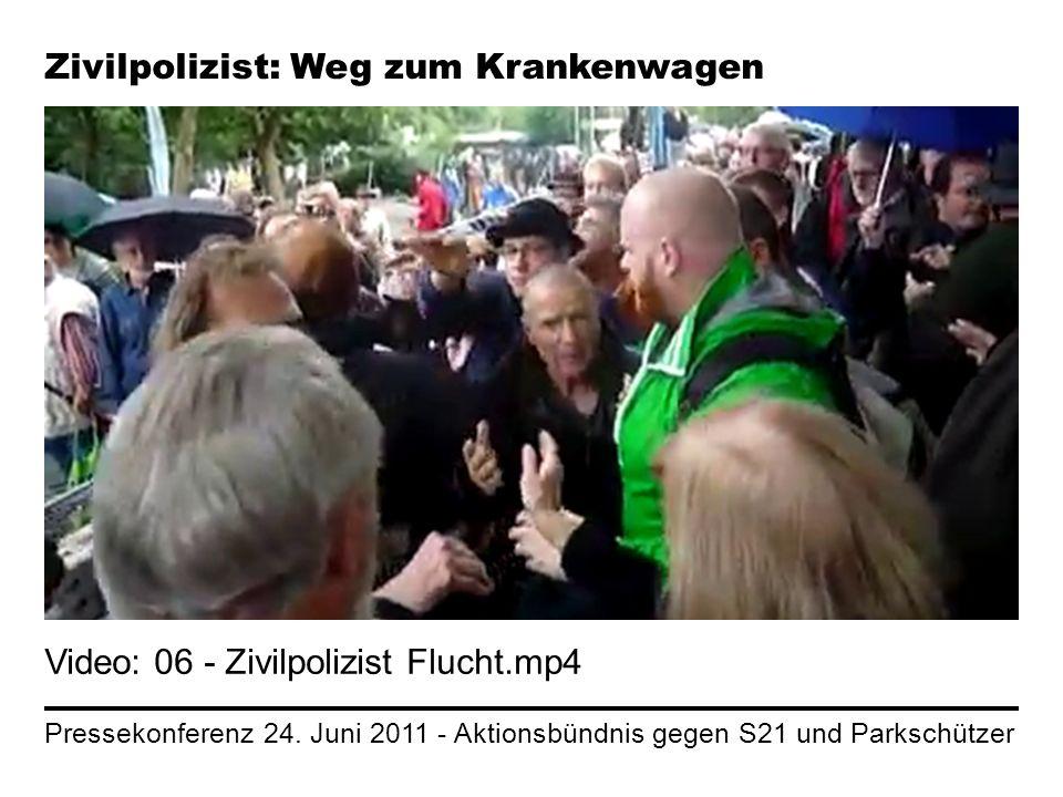 Pressekonferenz 24. Juni 2011 - Aktionsbündnis gegen S21 und Parkschützer Zivilpolizist: Weg zum Krankenwagen Video: 06 - Zivilpolizist Flucht.mp4