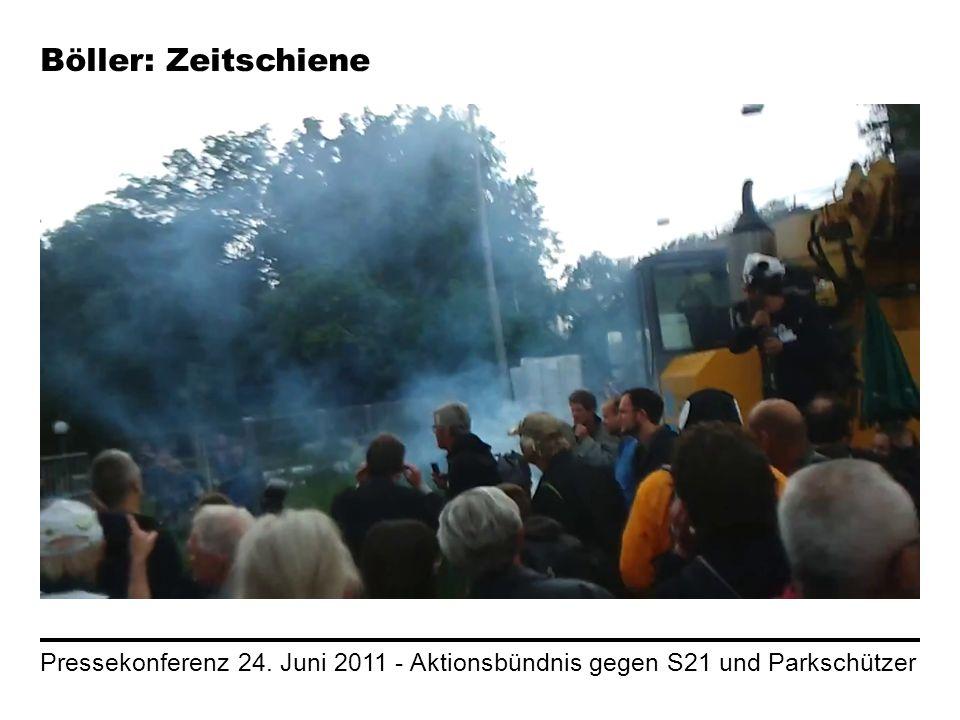 Pressekonferenz 24. Juni 2011 - Aktionsbündnis gegen S21 und Parkschützer Böller: Zeitschiene