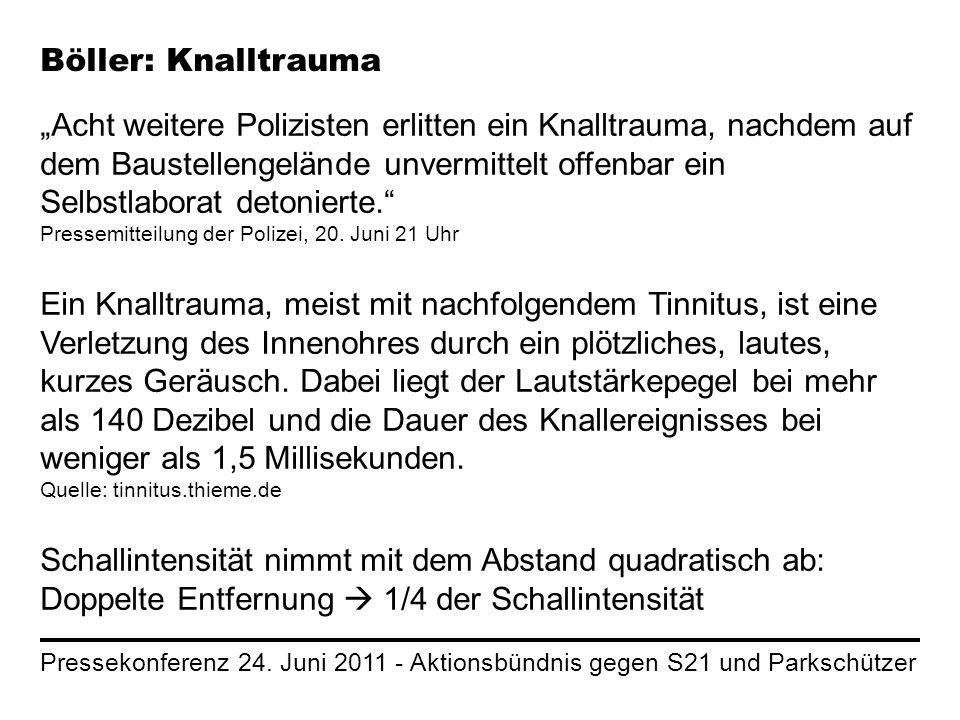 Pressekonferenz 24. Juni 2011 - Aktionsbündnis gegen S21 und Parkschützer Böller: Knalltrauma Acht weitere Polizisten erlitten ein Knalltrauma, nachde