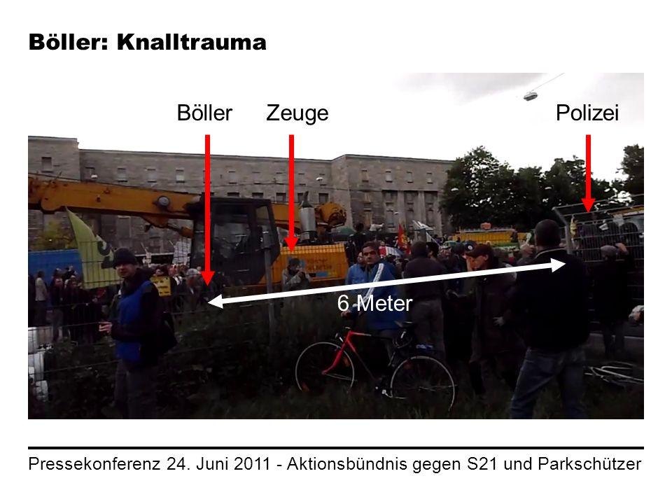 Pressekonferenz 24. Juni 2011 - Aktionsbündnis gegen S21 und Parkschützer Böller: Knalltrauma BöllerZeugePolizei 6 Meter