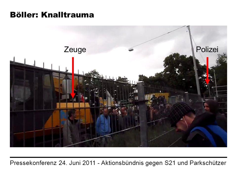 Pressekonferenz 24. Juni 2011 - Aktionsbündnis gegen S21 und Parkschützer Böller: Knalltrauma ZeugePolizei