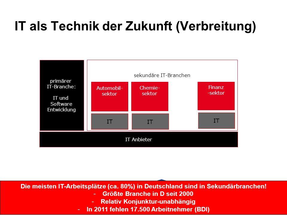 IT als Technik der Zukunft (Verbreitung) IT Anbieter primärer IT-Branche: IT und Software Entwicklung sekundäre IT-Branchen Automobil- sektor IT Chemie- sektor Finanz -sektor IT Die meisten IT-Arbeitsplätze (ca.