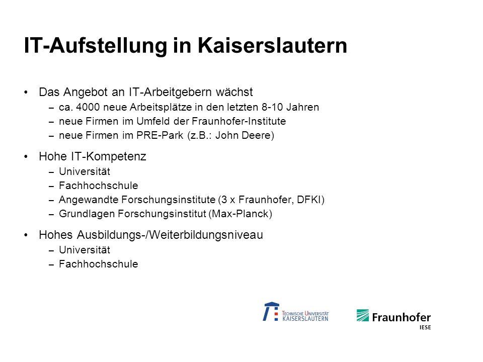 Das Angebot an IT-Arbeitgebern wächst – ca. 4000 neue Arbeitsplätze in den letzten 8-10 Jahren – neue Firmen im Umfeld der Fraunhofer-Institute – neue