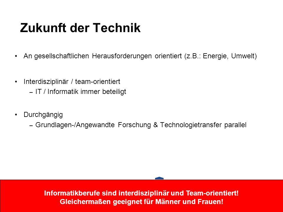 Zukunft der Technik An gesellschaftlichen Herausforderungen orientiert (z.B.: Energie, Umwelt) Interdisziplinär / team-orientiert – IT / Informatik im
