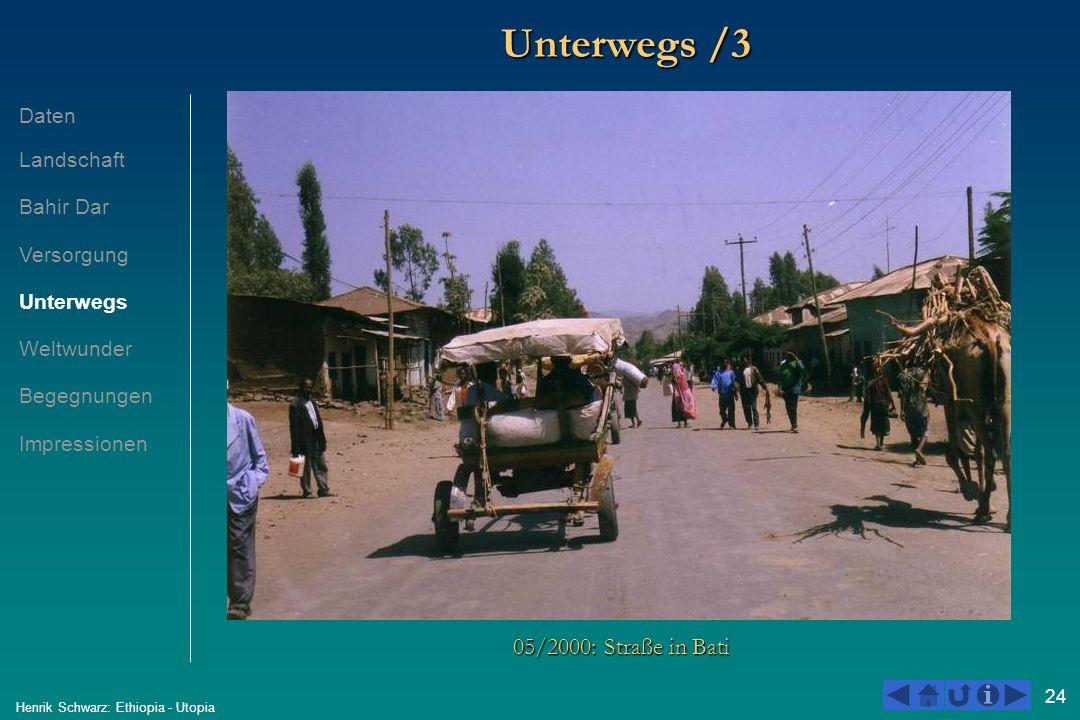 24 Henrik Schwarz: Ethiopia - Utopia Unterwegs /3 05/2000: Straße in Bati Daten Landschaft Bahir Dar Versorgung Unterwegs Weltwunder Begegnungen Impre