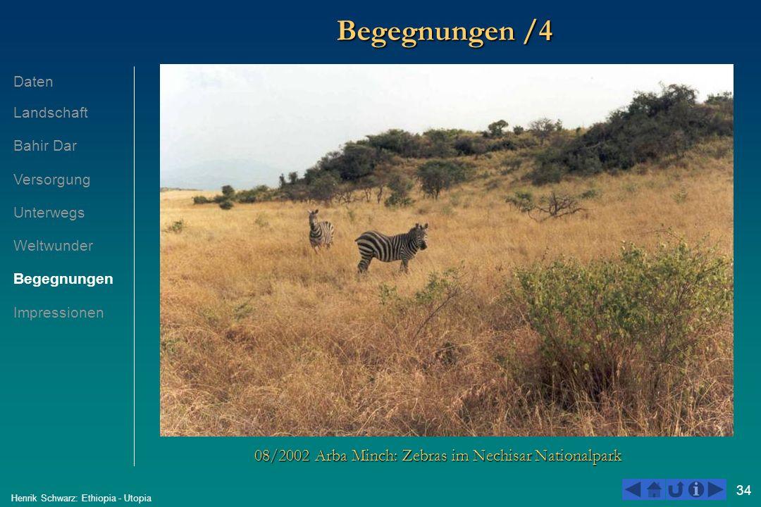34 Henrik Schwarz: Ethiopia - Utopia Begegnungen /4 08/2002 Arba Minch: Zebras im Nechisar Nationalpark Daten Landschaft Bahir Dar Versorgung Unterweg