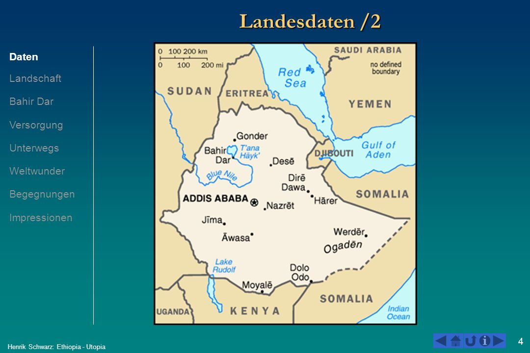 5 Henrik Schwarz: Ethiopia - Utopia Landesdaten /3 ÄthiopienDeutschland 19972004*2004 Fläche in Km 2 1.100.000 357.000 Einwohner59.800.00070.000.00082.500.000 Einwohner / Km 2 54,463,6231,1 Bevölkerungswachstum2,51,9-0.0 Lebenserwartung43,342,578,5 Altersstruktur0-14 Jahre..43,7*14,1 %* 15-64 Jahre..53,6*66,4 %* 65 Jahre und älter..2,7*19,4%* Geburten pro Frau5,95,41.4 Kindersterblichkeit unter 5 J...166,44,7 HIV / AIDS Tote..120.000 (2003)< 1.000 (2003) BSP in Dollar6,4 Milliarden7,6 Milliarden2,5 Billionen BSP / Einw.