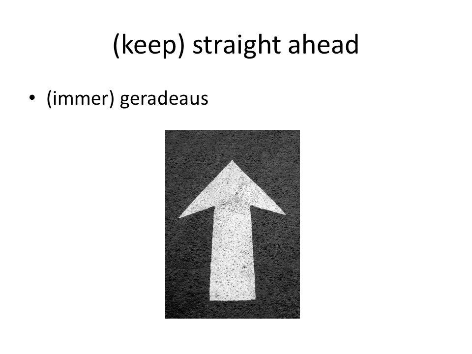 (keep) straight ahead (immer) geradeaus