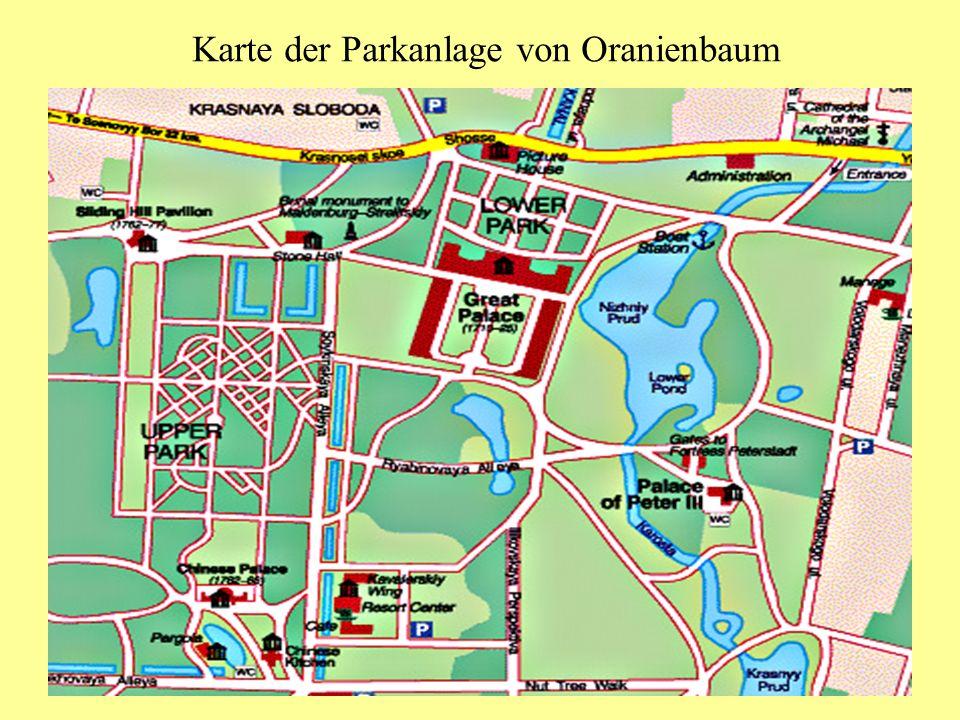 Karte der Parkanlage von Oranienbaum
