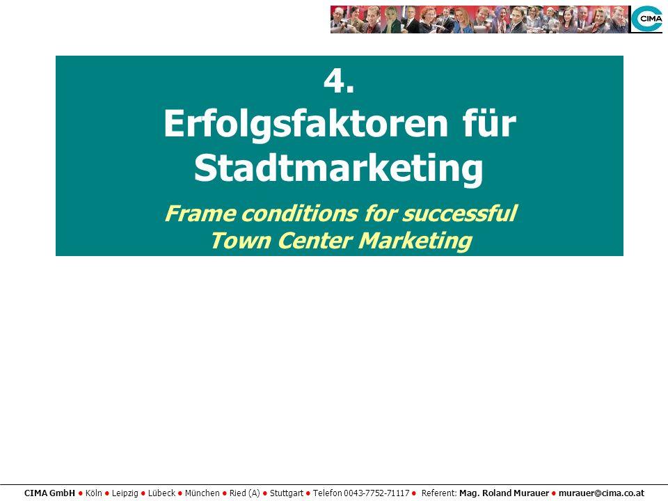 4. Erfolgsfaktoren für Stadtmarketing Frame conditions for successful Town Center Marketing