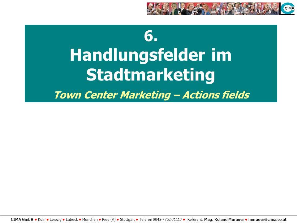 CIMA GmbH Köln Leipzig Lübeck München Ried (A) Stuttgart Telefon 0043-7752-71117 Referent: Mag. Roland Murauer murauer@cima.co.at 6. Handlungsfelder i