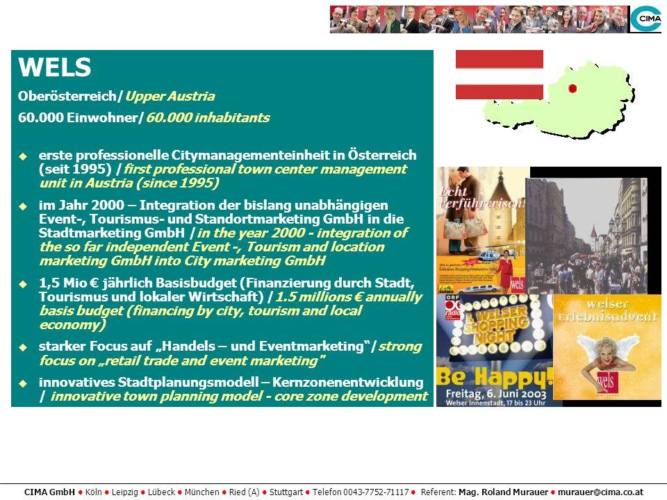 CIMA GmbH Köln Leipzig Lübeck München Ried (A) Stuttgart Telefon 0043-7752-71117 Referent: Mag. Roland Murauer murauer@cima.co.at WELS Oberösterreich/