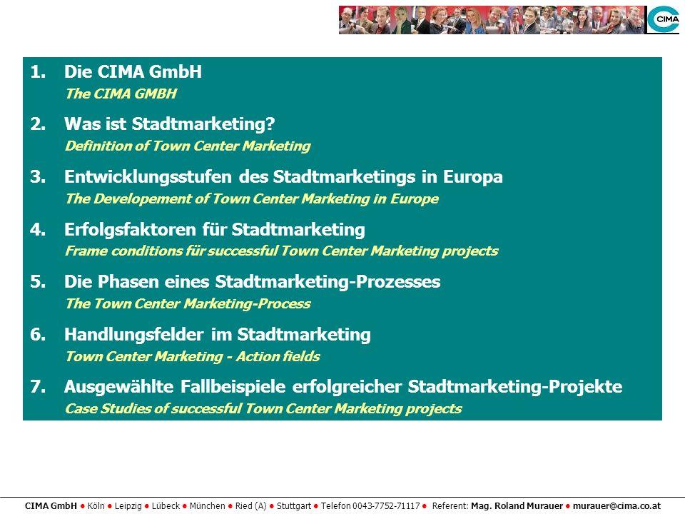 CIMA GmbH Köln Leipzig Lübeck München Ried (A) Stuttgart Telefon 0043-7752-71117 Referent: Mag. Roland Murauer murauer@cima.co.at 1.Die CIMA GmbH The