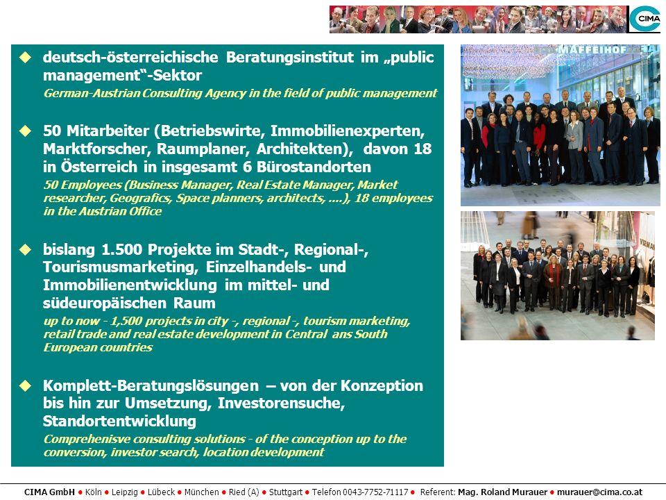 CIMA GmbH Köln Leipzig Lübeck München Ried (A) Stuttgart Telefon 0043-7752-71117 Referent: Mag. Roland Murauer murauer@cima.co.at deutsch-österreichis