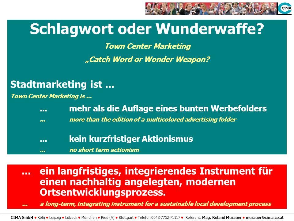 CIMA GmbH Köln Leipzig Lübeck München Ried (A) Stuttgart Telefon 0043-7752-71117 Referent: Mag. Roland Murauer murauer@cima.co.at...ein langfristiges,