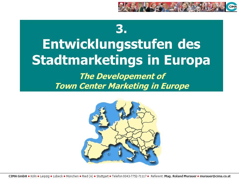 3. Entwicklungsstufen des Stadtmarketings in Europa The Developement of Town Center Marketing in Europe