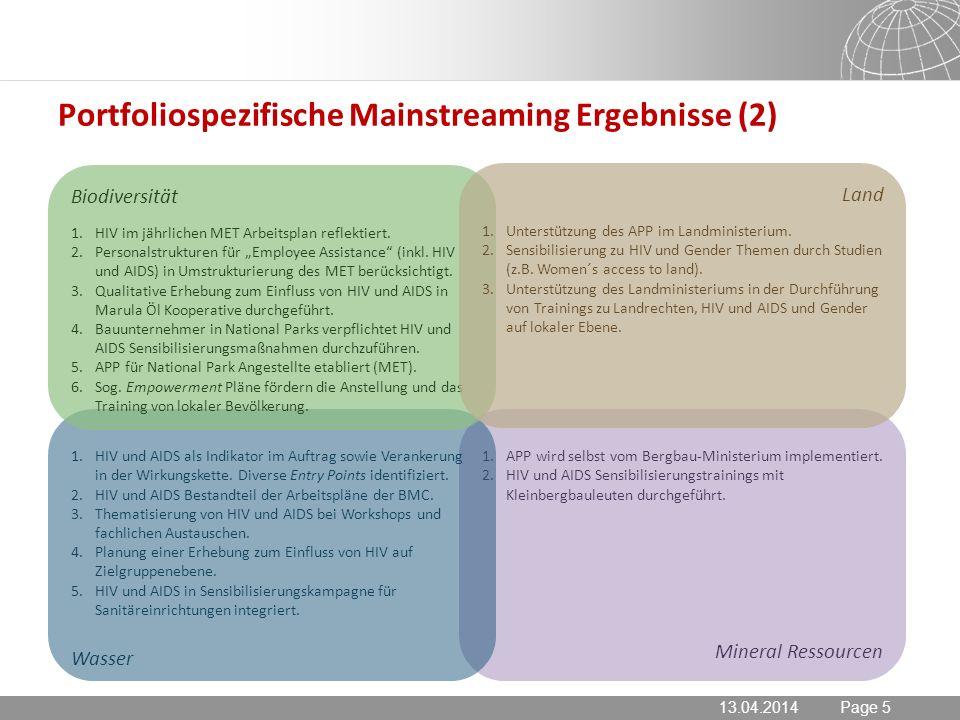 13.04.2014 Seite 5 Page 5 Portfoliospezifische Mainstreaming Ergebnisse (2) 13.04.2014 1.APP wird selbst vom Bergbau-Ministerium implementiert.
