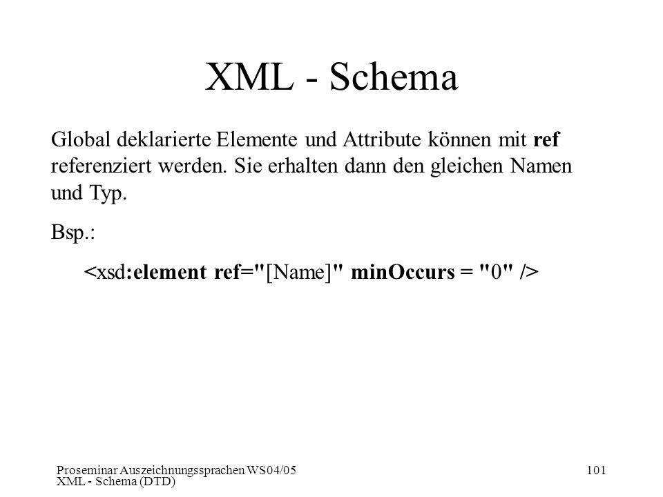 Proseminar Auszeichnungssprachen WS04/05 XML - Schema (DTD) 101 XML - Schema Global deklarierte Elemente und Attribute können mit ref referenziert wer