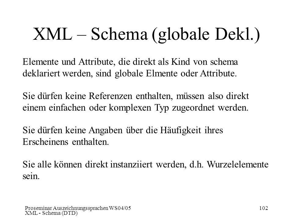 Proseminar Auszeichnungssprachen WS04/05 XML - Schema (DTD) 102 XML – Schema (globale Dekl.) Elemente und Attribute, die direkt als Kind von schema de