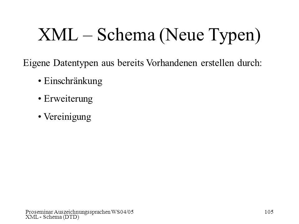 Proseminar Auszeichnungssprachen WS04/05 XML - Schema (DTD) 105 XML – Schema (Neue Typen) Eigene Datentypen aus bereits Vorhandenen erstellen durch: E